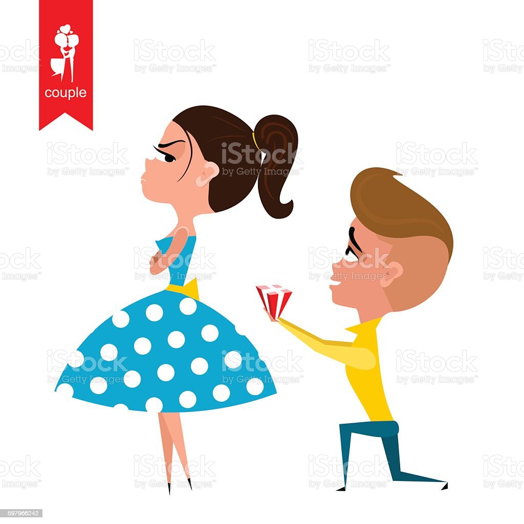 boy gives girl gift. Flat illustration. Vector vector art illustration