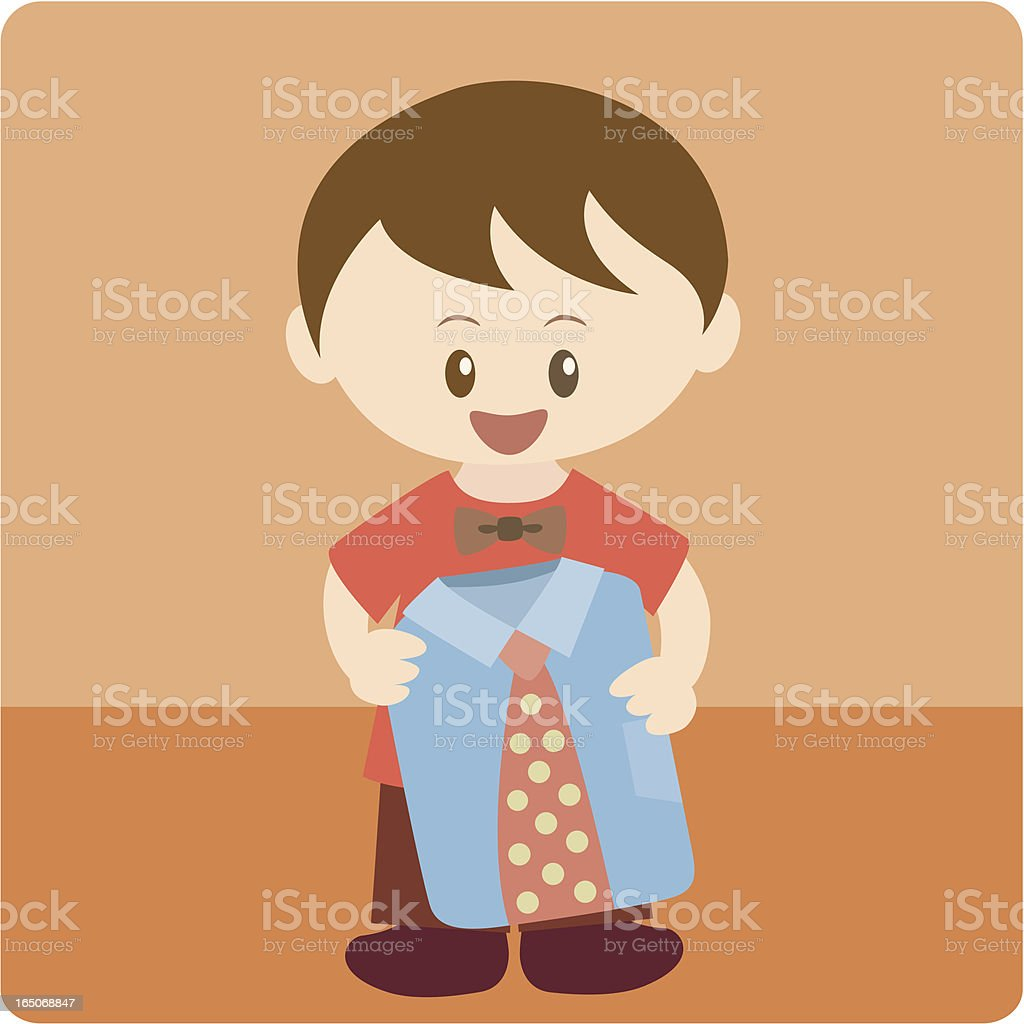 boy giving a shirt on father's day royalty-free stock vector art