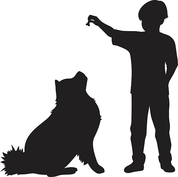 junge geben hund genießen-silhouette - hundeleckerli stock-grafiken, -clipart, -cartoons und -symbole