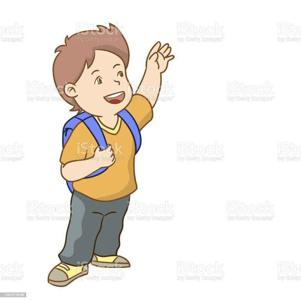 Boy go to school Vector cartoon Illustration vector art illustration