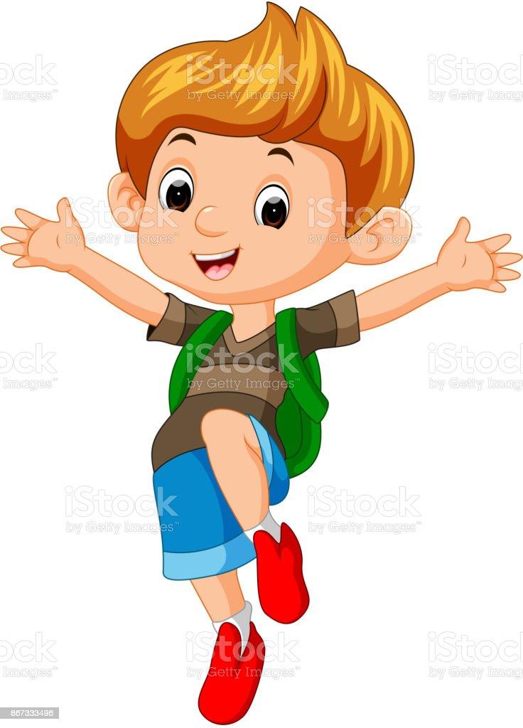 boy go to school vector art illustration