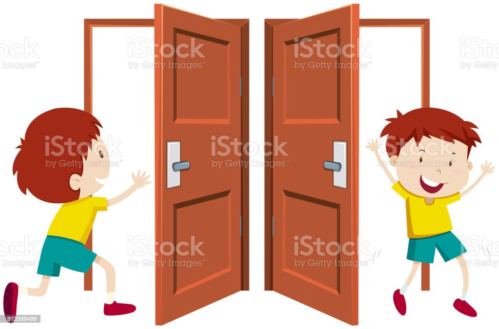 royalty free boy open door clip art vector images illustrations rh istockphoto com open door policy clipart open and closed door clipart