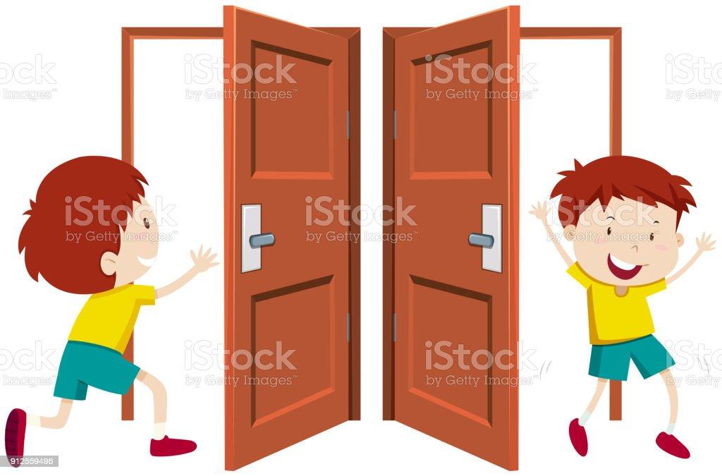 royalty free boy open door clip art vector images illustrations rh istockphoto com open door clip art open doors clip art