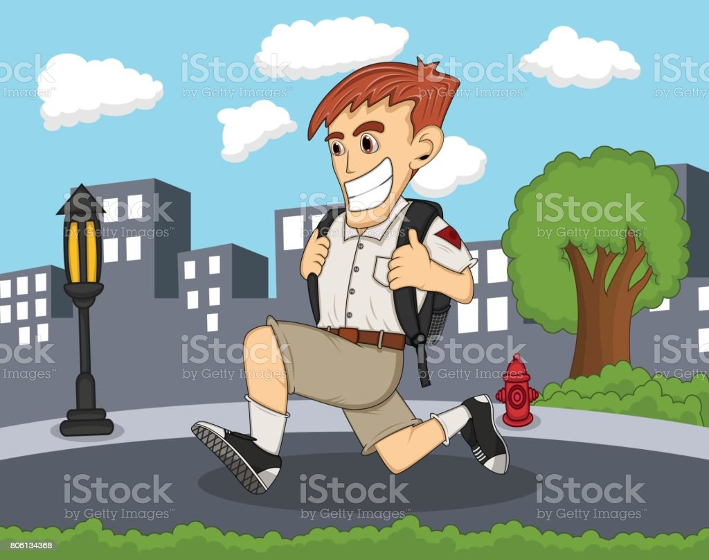A boy going to school with city background cartoon vector art illustration