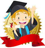 Teenage boy graduate holding diploma, dress up the graduation gown and mortarboard with blank banner