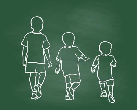 Boy Growing Up Chalkboard