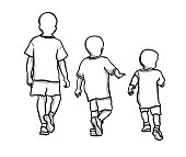 Three boys representing stages in childhood