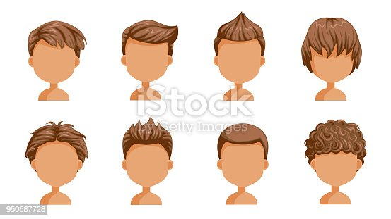 Boy hair rear view set. head of a little boy. cute  hairstyle.Variety  child  modern fashion for assortment. long , short , curly hair. salon hairstyles and trendy haircut of male. vector icon set isolated.