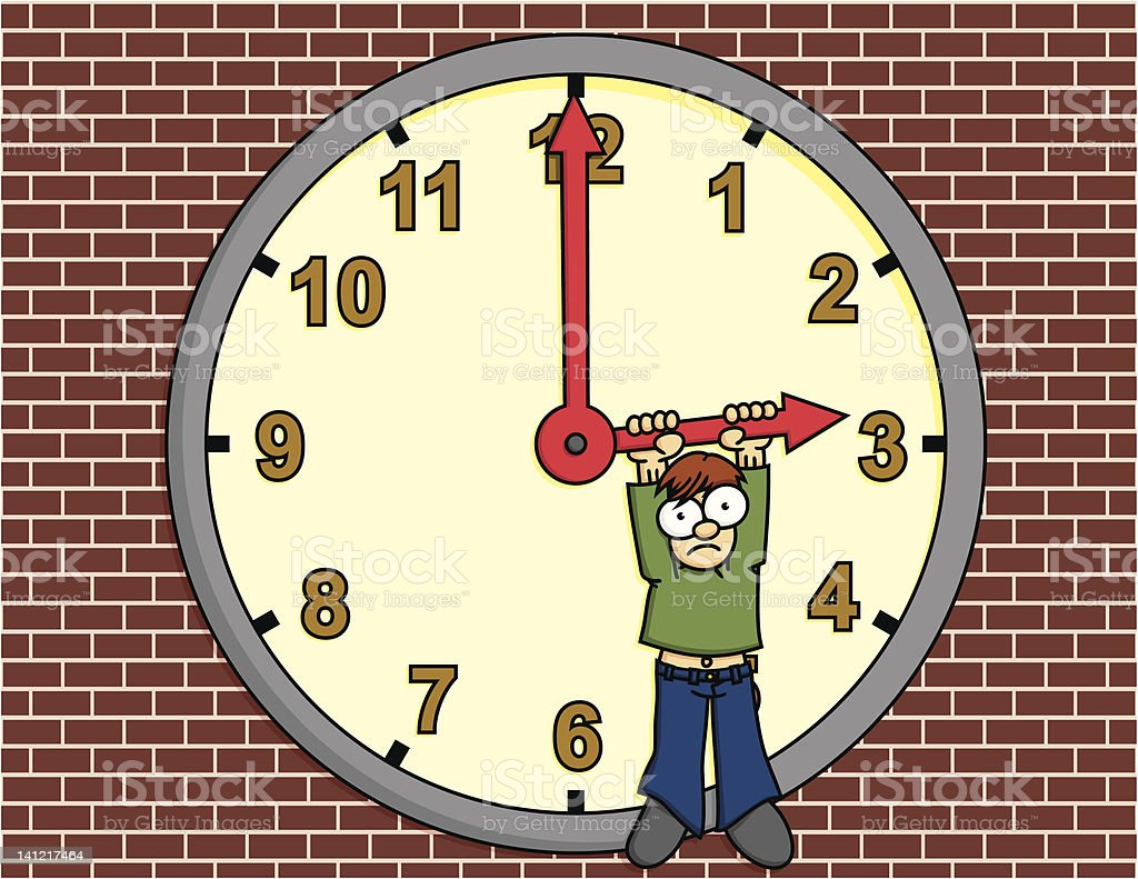 Boy Hanging from a Clock Face royalty-free stock vector art