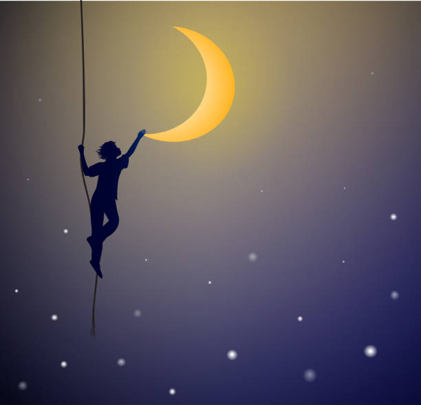 boy hanging on the rope and touching the moon, on the heavens, dream, boy hanging on the rope and touching the moon, on the heavens, dream, shadows dreamlike stock illustrations