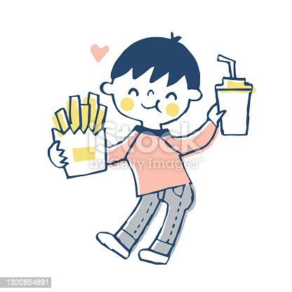 istock Boy happily eating fast food 1320854891