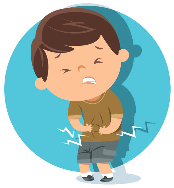 Boy have stomach ache Vector Boy have stomach ache hungry child stock illustrations