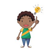 Child having an idea, inspiration, pointing light bulb symbol, happy cartoon character, isolated, white background, vector illustration