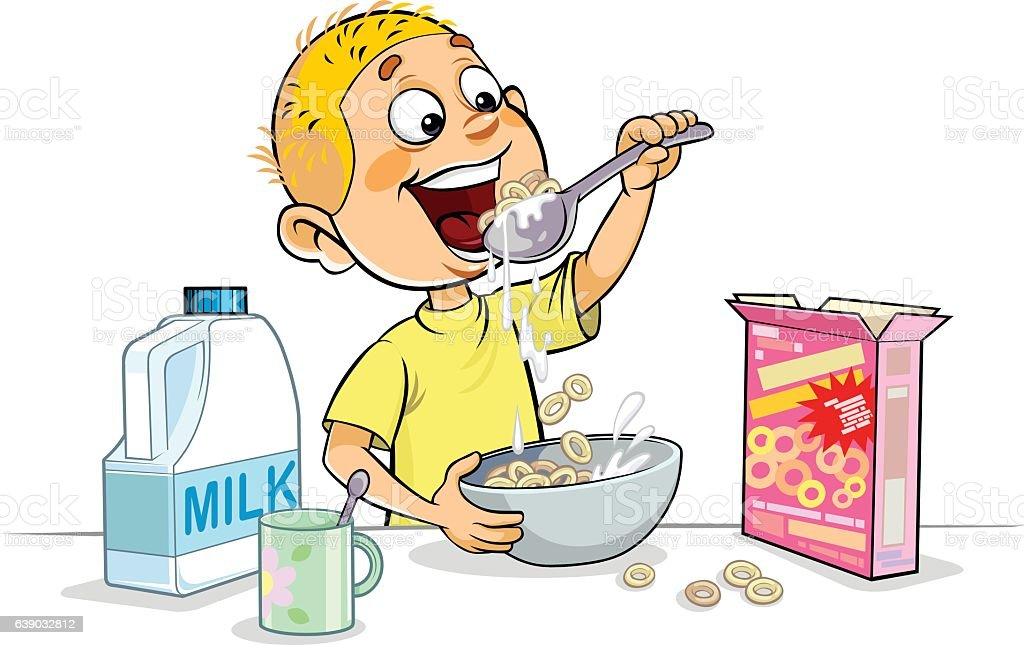 Boy having breakfast vector art illustration