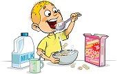 Vector illustration of a cartoon Boy Having Breakfast.