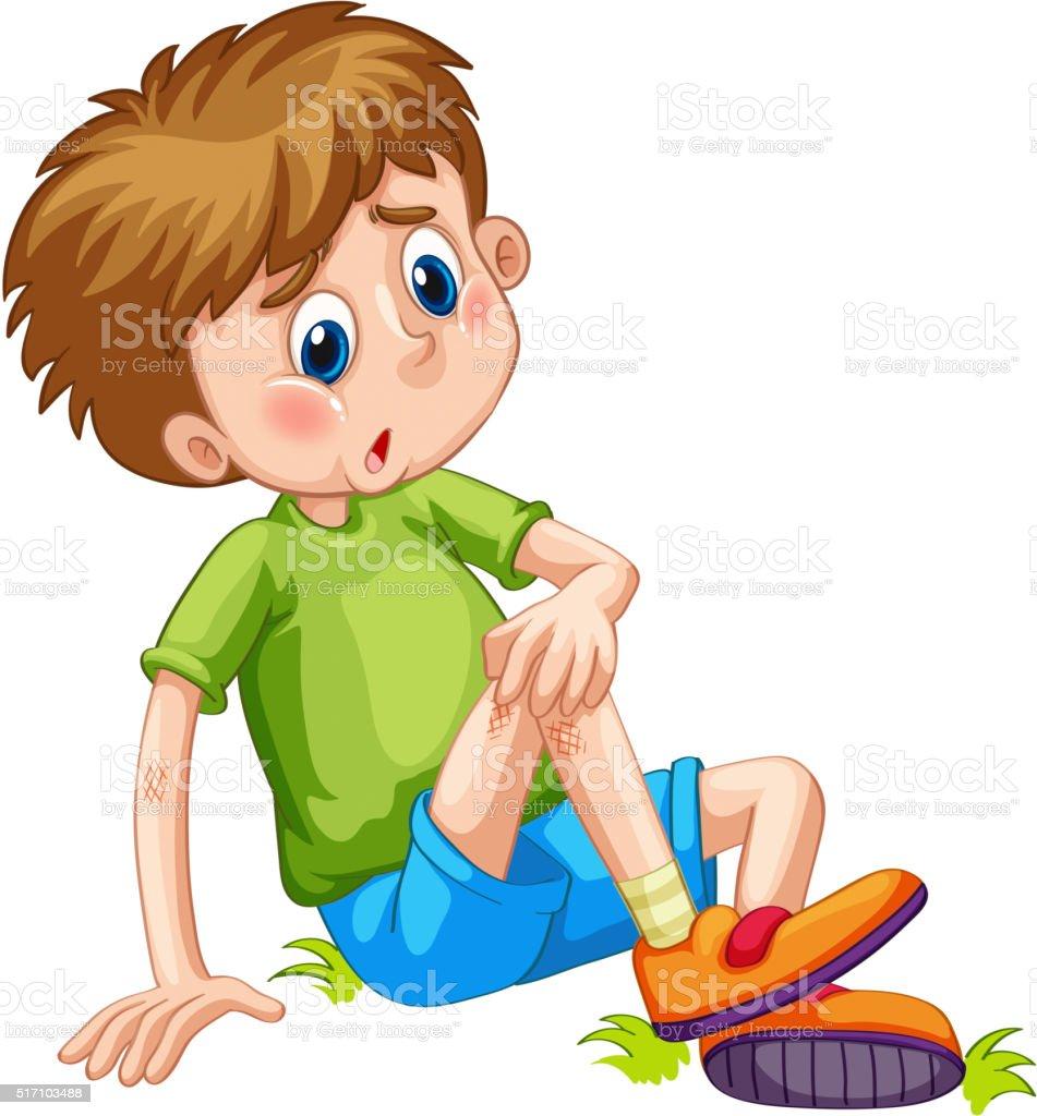 Boy having bruises on his leg vector art illustration