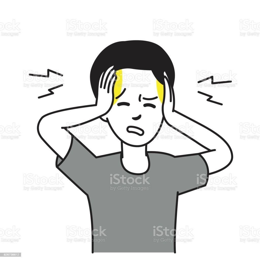 Dolor de cabeza en la cabeza de un niño