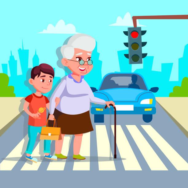 illustrazioni stock, clip art, cartoni animati e icone di tendenza di boy helping senior woman crossing street vector drawing - nonna e nipote camminare
