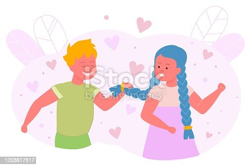 Boy Hesitates and Pulls Pigtail Girl, Cartoon. Beautiful Girl Clenched her Fists and Looks at Guy who is Standing Behind and Pulling her Hair. Child Experiences in Romantic Feelings.