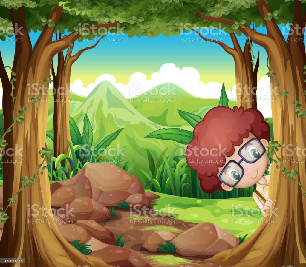 boy hiding at the forest royalty-free stock vector art