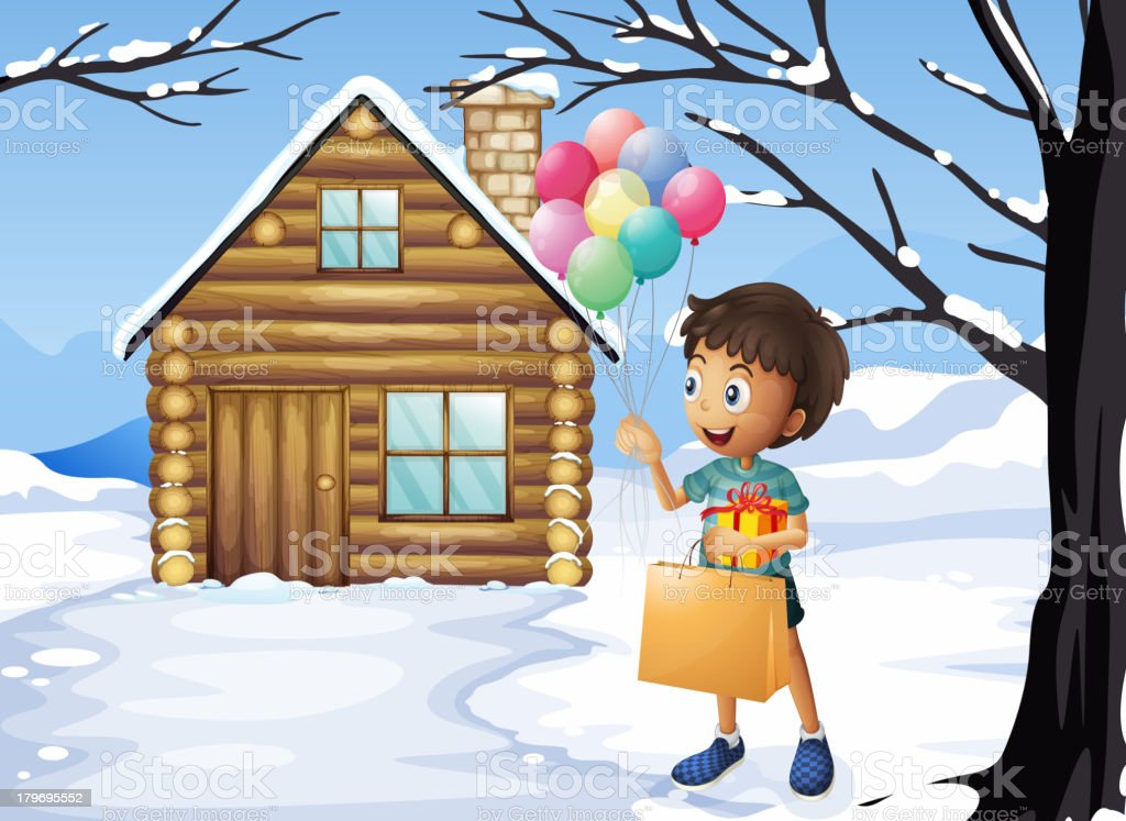 Boy holding a bag and balloons royalty-free stock vector art