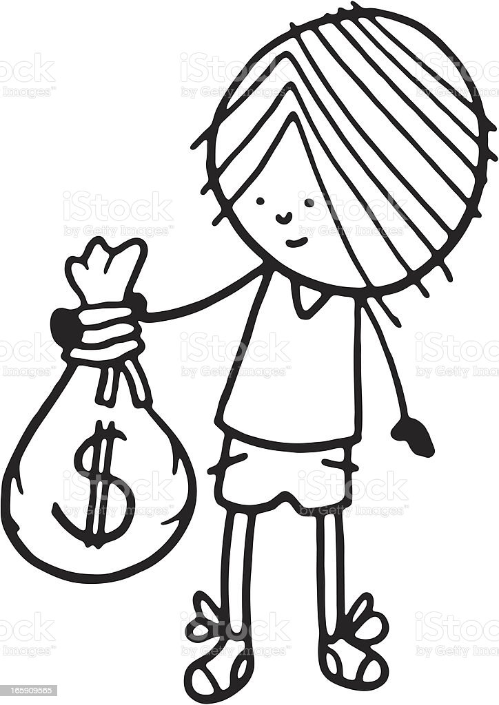 Boy holding a bag of money royalty-free stock vector art