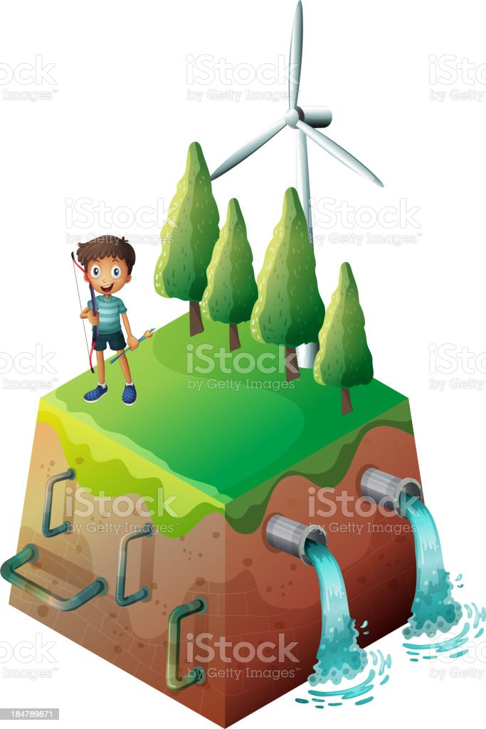boy holding a bow at the top of drainage royalty-free stock vector art