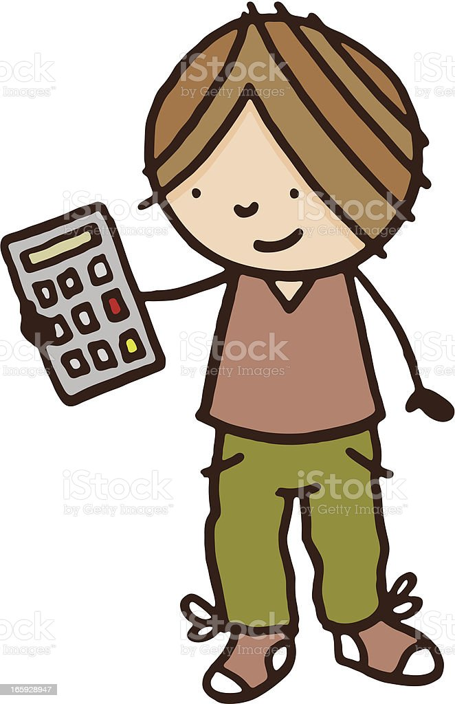 Boy holding a calculator royalty-free boy holding a calculator stock vector art & more images of adult