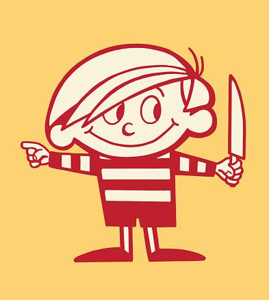 Boy Holding a Knife