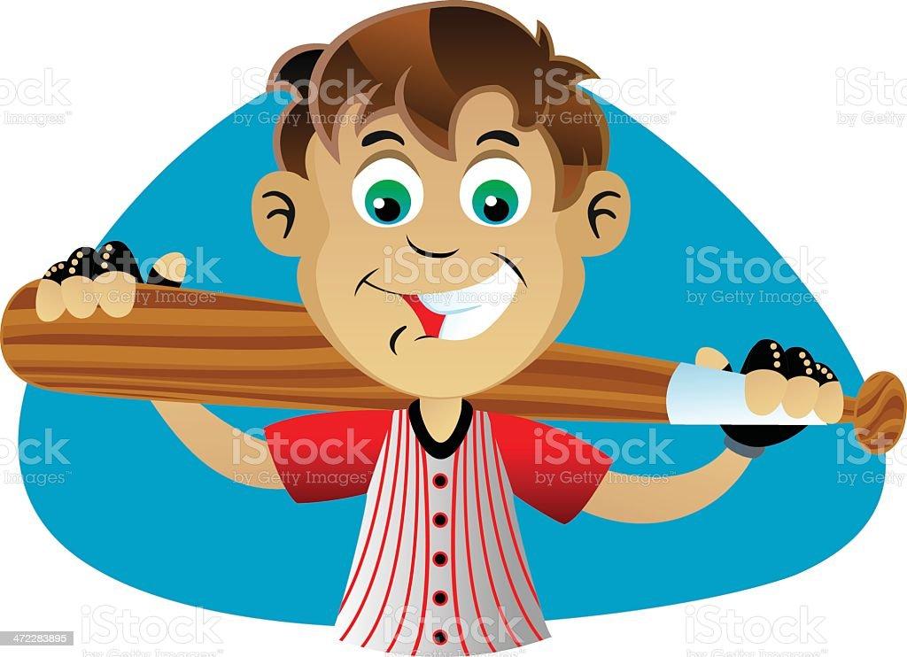 Boy Holding Bat royalty-free boy holding bat stock vector art & more images of baseball bat