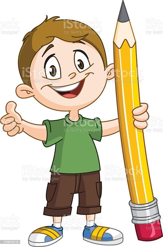 Boy holding big pencil vector art illustration