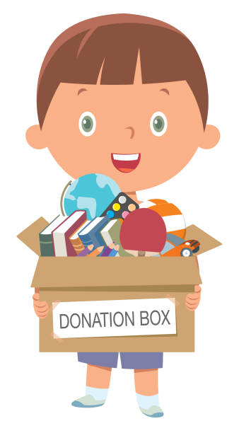 Boy holding donate box with books, pencils and toys Vector Boy holding donate box with books, pencils and toys giving tuesday 2020 stock illustrations