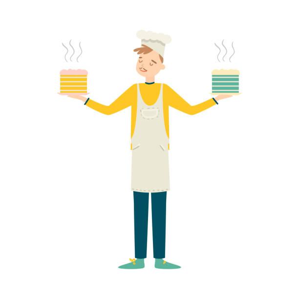 stockillustraties, clipart, cartoons en iconen met jongen houden vers gekookt gebak in handen vector illustratie - alleen één jonge man