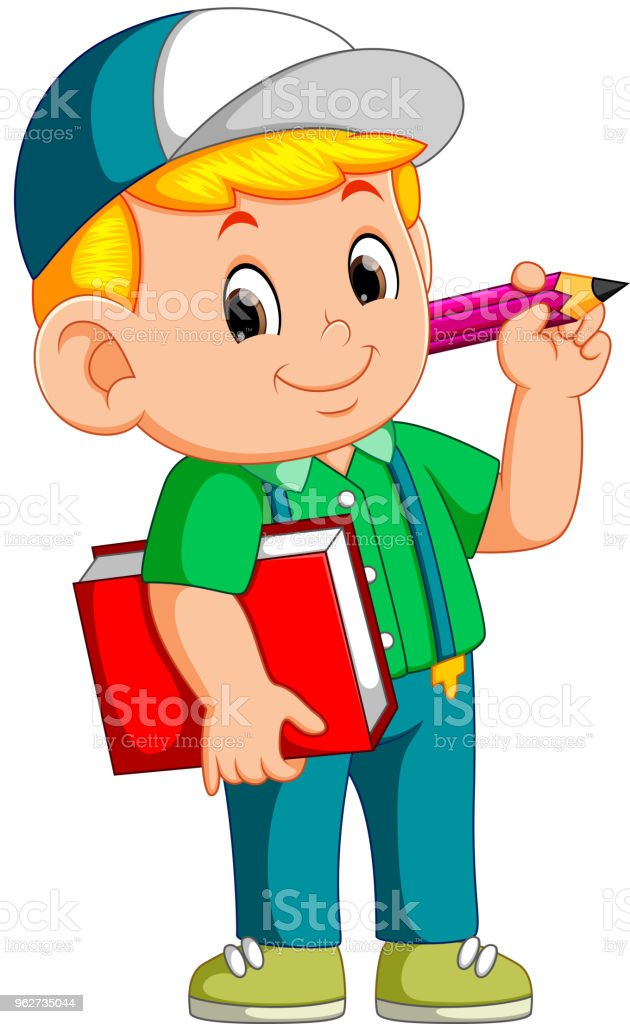 Boy holding pencil and carrying book illustration