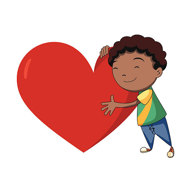 Boy hugging heart Child hugging heart, vector illustration, cartoon character, isolated, white background african american valentine stock illustrations