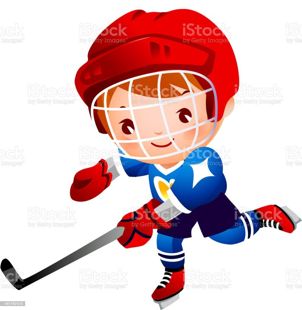 Boy ice hockey player royalty-free stock vector art