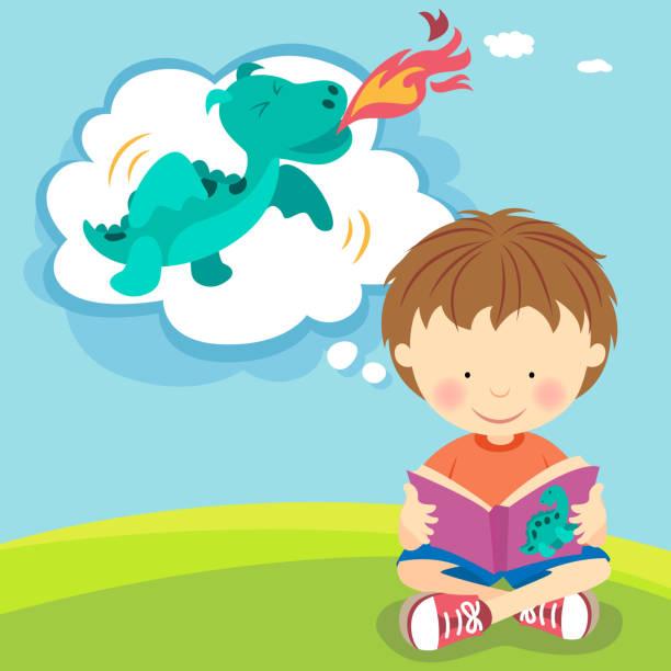 junge auf der suche nach fire atmen dragon von buchen - wunschkinder stock-grafiken, -clipart, -cartoons und -symbole