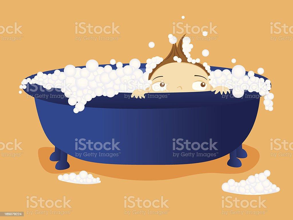 Boy in a Bubble Bath vector art illustration