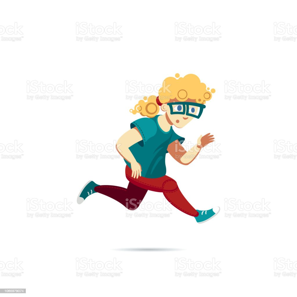 Boy In A Green Tshirt Sneakers And Glasses Running Male Blond Curly Hair Character In Red Pants Character For Running Animation Avatar For A Currier A Busy Person Or A School Boy