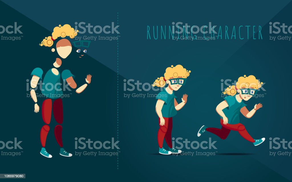 Boy In A Green Tshirt Sneakers And Glasses Running Male Blond