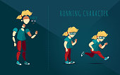Boy in a green t-shirt, sneakers and glasses running. Male blond curly hair character in red pants. Character for running animation. Avatar for a currier, a busy person or a school boy
