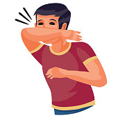 boy in a red t-shirt sneezes in the elbow, isolated object on a white background, vector illustration, eps