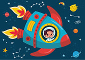 Boy in a rocket journey to space. Vector illustration.