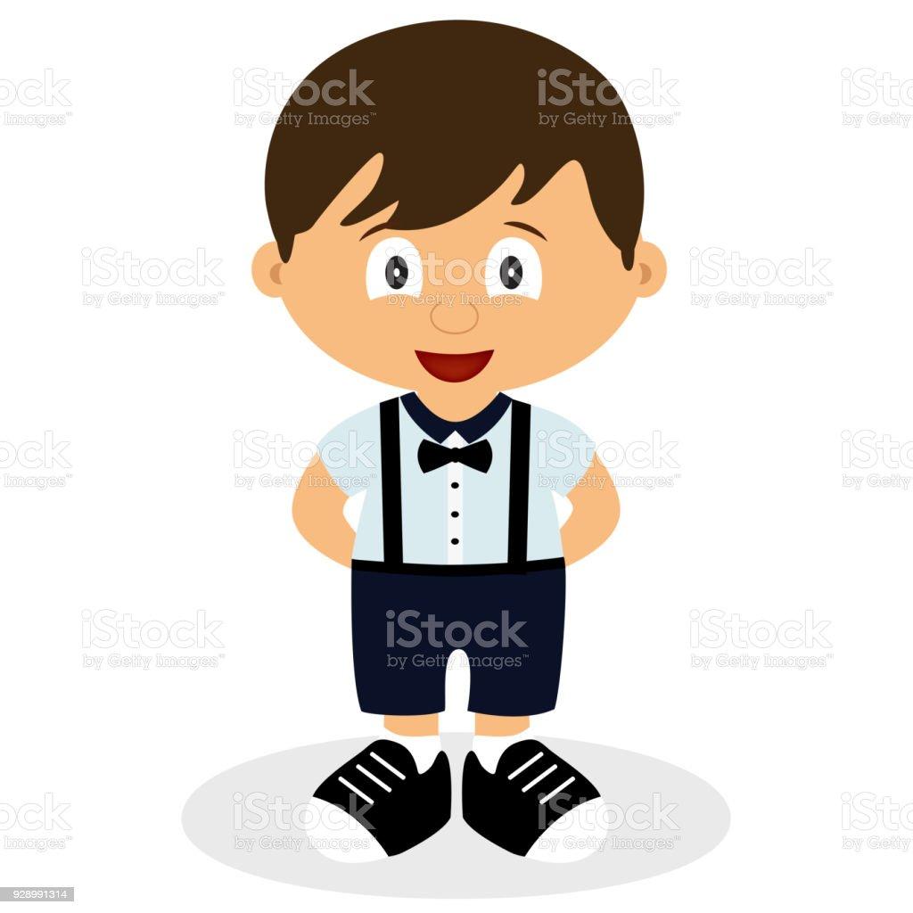 Een jongen in een pak. Kruippakje. Kinder tuxedo. - Royalty-free Alleen baby's vectorkunst