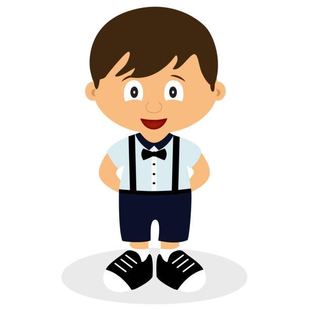 stockillustraties, clipart, cartoons en iconen met een jongen in een pak. kruippakje. kinder tuxedo. - alleen één jongensbaby