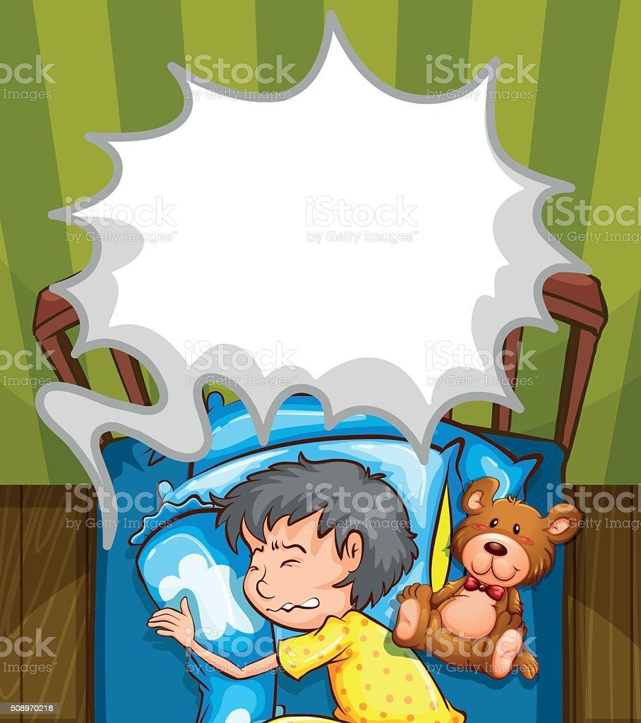 Boy in bed having nightmare vector art illustration