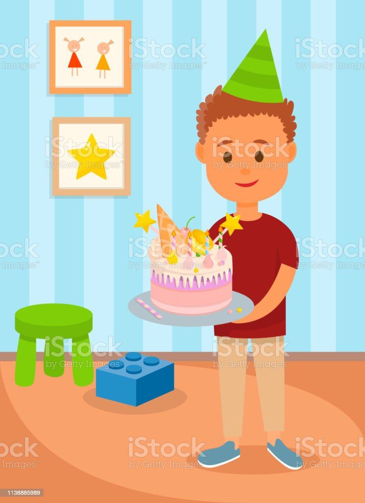 Boy in Birthday Hat at Home Poster Vector Illustration. Teenager...