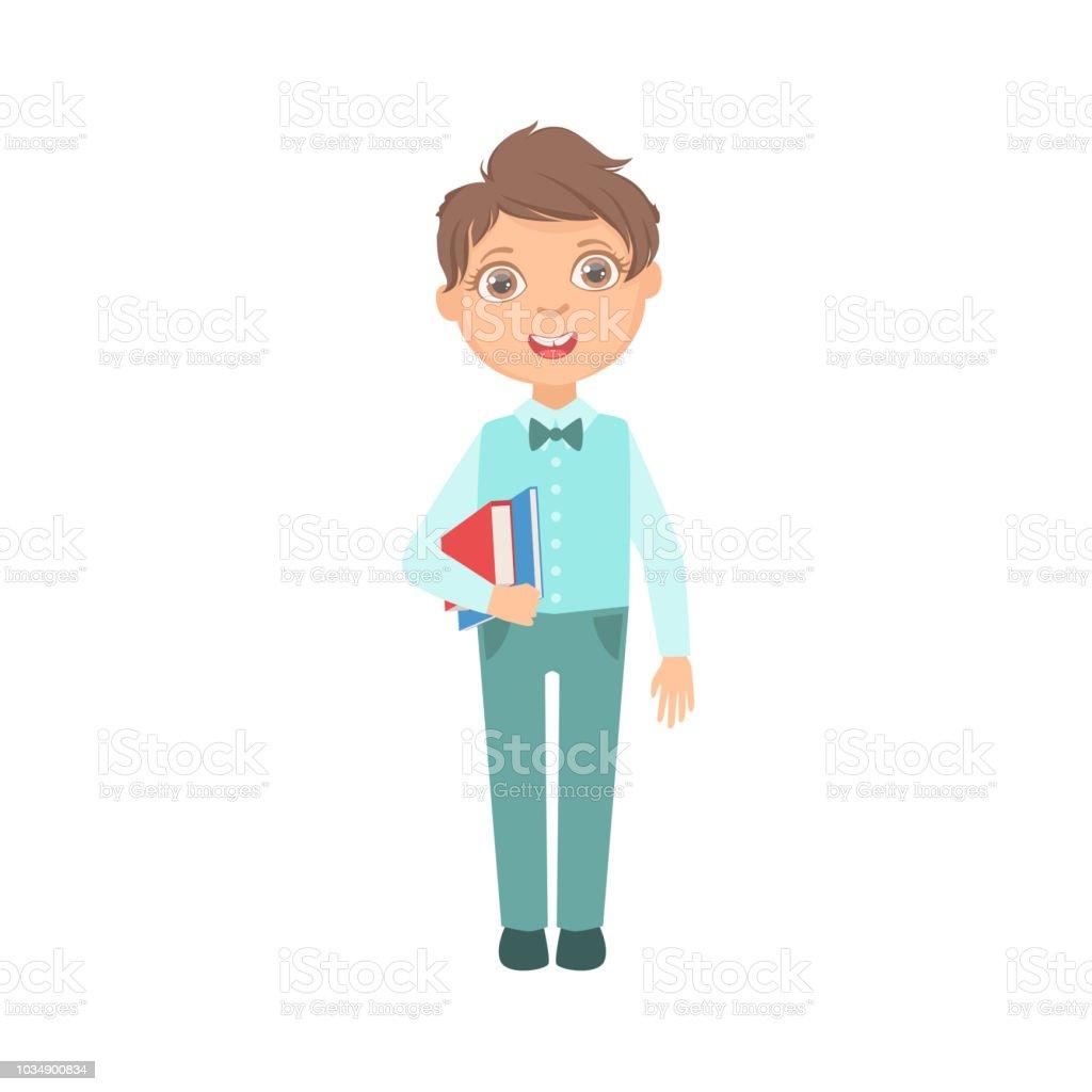 Vetores De Menino De Calcas Azuis E Colete Segurando Livros Aluno