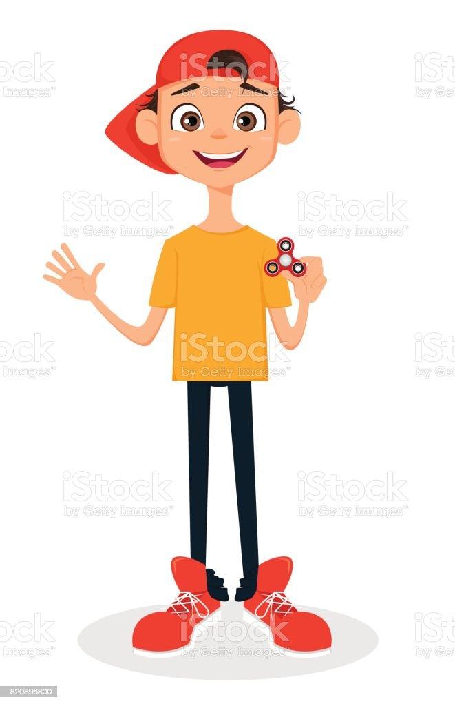Boy in cap holding spinner vector art illustration