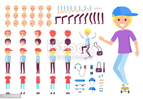 Boy in Cap on Skate with Spare Body Parts Set
